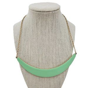 Green Necklace Crescent Statement Chain Gold Tone